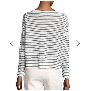 Theory Tops - Sold • trinella striped linen top black/white